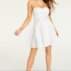 White Rhinestone Short Flare Party Dress